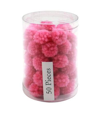 Simply Spring 50 pk 0.5'' Yarn Pom Poms-Pink
