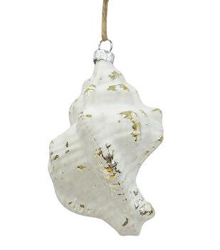 Handmade Holiday Christmas Frosty Seas Glass Shell Ornament-White