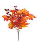 Blooming Autumn 20\u0027\u0027 Pumpkin Berry & Maple Leaves Bush-Orange & Burgundy