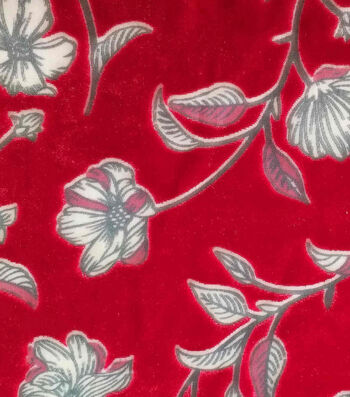"Silky Velvet Burnout Fabric 54""-Red Tossed Floral"