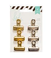 Heidi Swapp 6 Pack Bulldog Clips-Silver & Gold, , hi-res