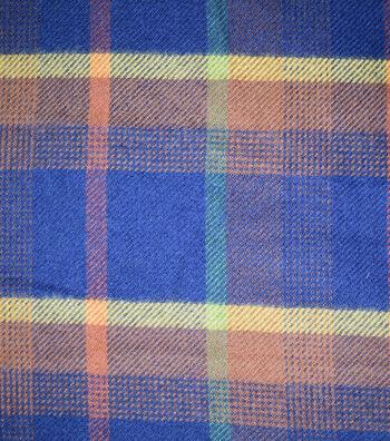 "Sportswear Acrylic Fabric 52""-Navy, Orange & Green Plaid"