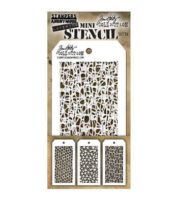 Stampers Anonymous Tim Holtz 3 pk Mini Layering Stencil Set #35