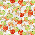 Novelty Cotton Fabric-Apples on Wood Planks