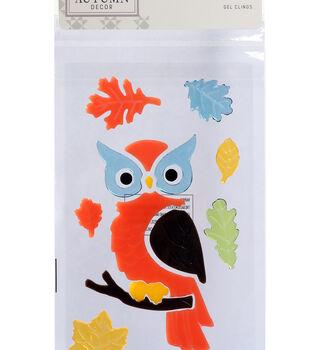 Simply Autumn Gel Clings-Owl & Leaves