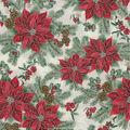 Christmas Cotton Fabric-Poinsettia & Pinecones White Metallic