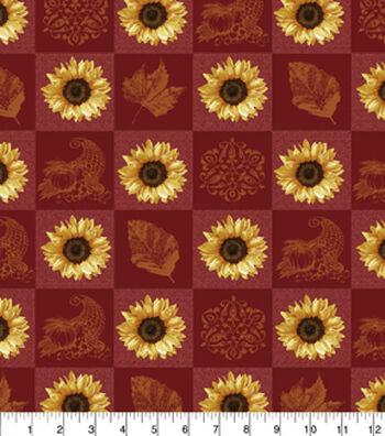 "Harvest Cotton Fabric 43""-Sunflower Patchwork"