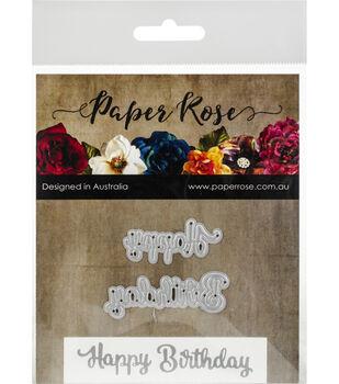 Paper Rose 2 pk Metal Dies-Happy Birthday