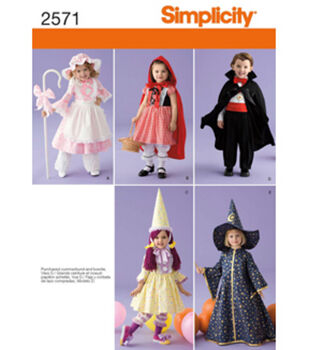 Simplicity Pattern 2571A Toddler's Costumes-Size 1/2 1 2 3