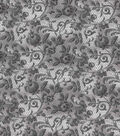 Vintage Cotton Fabric 43\u0027\u0027-Gray Floral & Lace