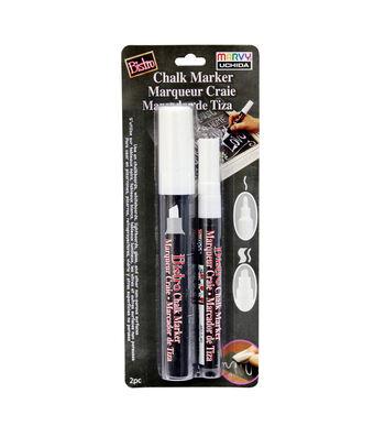 Bistro Chalk Marker White Chisel Fine Tip - 2pk