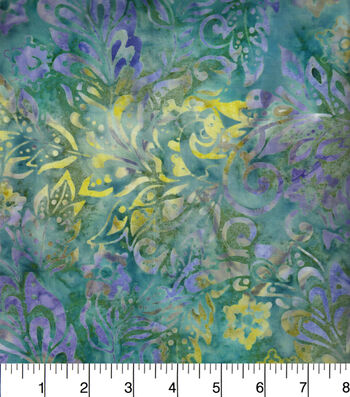 "Legacy Studio Indonesian Batiks Cotton Fabric 44""-Packed Floral Teal"