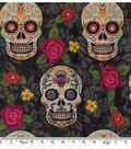 Halloween Cotton Fabric -Sugar Skulls And Flowers