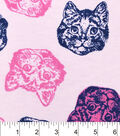 Snuggle Flannel Fabric -Multi Pink Cat Faces