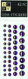 DCWV Iridescent Gem Stickers-Jewel-toned Purple Assortment