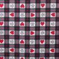 Blizzard Fleece Fabric-Heart & Paws on Black & White Plaid