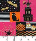 Halloween Costume Fabric -Halloween Blocks Pink & Orange