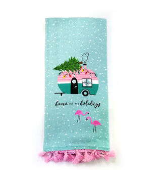 Handmade Holiday 16''x26'' Cotton Towel-Camper & Home for the Holidays