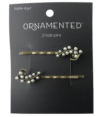 hildie & jo Ornamented 2 Pack Leaf Antique Gold Hair Pins-Pearl
