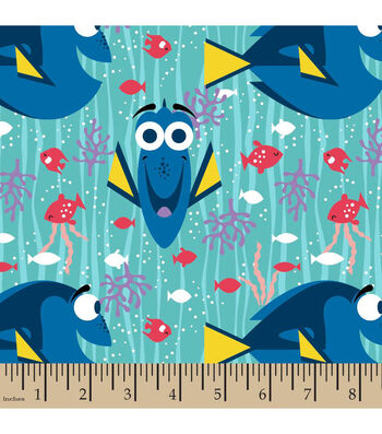 """Finding Dory Flannel Fabric 42""""-Happy Girl"""