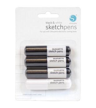 Silhouette Sketch Pens 4/Pkg-3 Black, 1 White