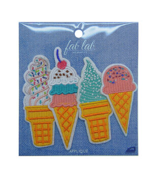 Fab Lab Wearables 4 pk Assorted Ice Cream Iron-on Appliques