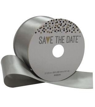 Save the Date 2.5'' X 30' Ribbon-Gray Satin