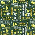 University of Oregon Ducks Cotton Fabric -Glitter