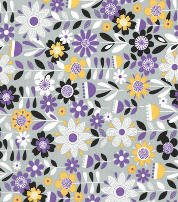 Quilter's Showcase Cotton Fabric 44''-Bold Flowers on Gray