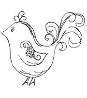 "Mini Clear Stamp 3""X5""-Flourish Bird, , hi-res"