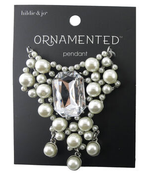hildie & jo Ornamented Silver Pendant-Pearl & Emerald Cut Crystal