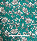 Stretch Crepe Knit Fabric-White Shaded Floral on Teal