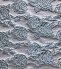 Sew Sweet Brocade Fabric 52\u0027\u0027-Icy Blue Rose on White