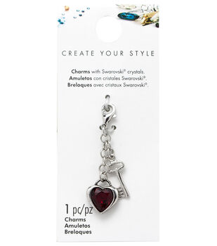 Swarovski Create Your Style Heart & Key Charm-Burgundy Crystal