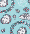 Blizzard Fleece Fabric 59\u0022-Black Hedgehog on Aqua