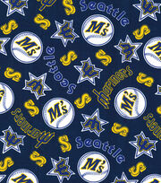 Seattle Mariners Cotton Fabric -Navy Cooperstown, , hi-res