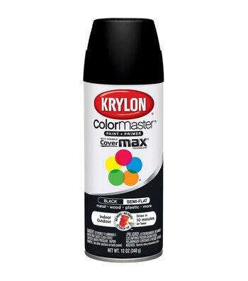 Krylon ColorMaster 12 oz. Indoor/Outdoor Semi-Flat Paint + Primer-Black