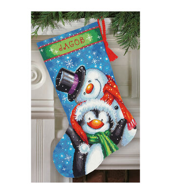 "Polar Pals Stocking Needlepoint Kit-16"" Long Stitched In Thread"