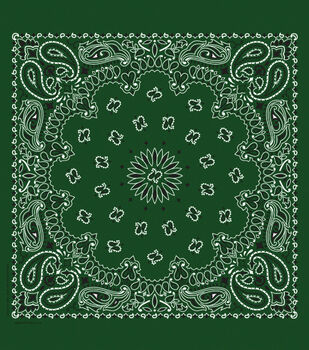 Cotton Bandanna 21''x21''-Paisley on Hunter Green