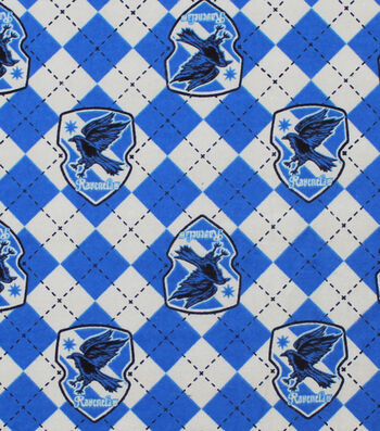 "Harry Potter Flannel Fabric 42""-Ravenclaw Argyle"