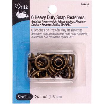 "Dritz 0.63"" Heavy Duty Snap Fasteners 6pcs Size 24 Antique Brass"