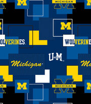University of Michigan Wolverines Cotton Fabric 43''-Modern Block, , hi-res