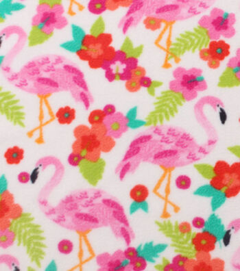 "Anti-Pill Fleece Fabric 59""-Flamingos And Flowers"
