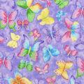 Novelty Cotton Glitter Fabric -Butterfly on Purple