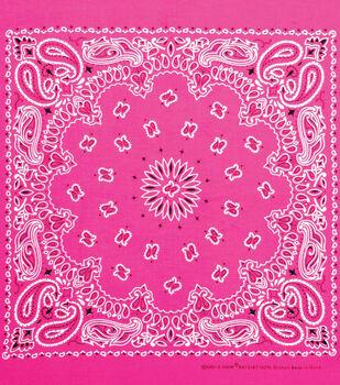 Carolina 21''x21'' Cotton Bandana-Neon Pink Paisley