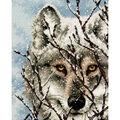 Gold Petite Wolf Counted Cross Stitch Kit-5\u0022X7\u0022 18 Count