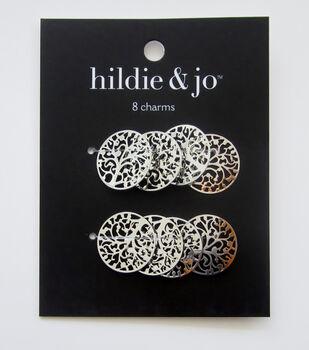 hildie & jo 8 pk Filigree Tree Charms-Silver