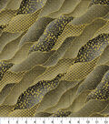 Asian Inspired Cotton Fabric -Packed Waves Black Metallic
