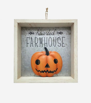 Maker's Halloween Figural White Wood Word Block-Haunted Farmhouse