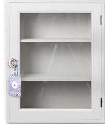 "Cabinet with Glass Door 15.9x19.9x5.9"" -White"